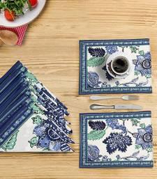 Portia Placemat Napkin Set (6 Mats + 6 Napkins), Blue