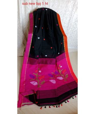 Magenta and Black Pallu Jamdani Work Handloom Saree With Blouse