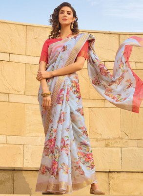 Grey printed faux linen saree with blouse