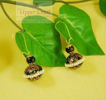 Black Meena Gold Plated Dangle Earrings