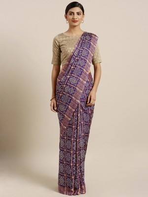 Traditional Designer Purple Color Bandhani Silk Saree