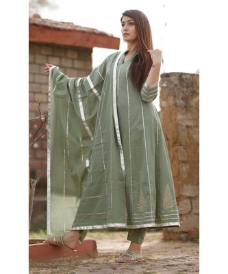 Olive Green anarkali kurta set with dupatta and delited with gota work .