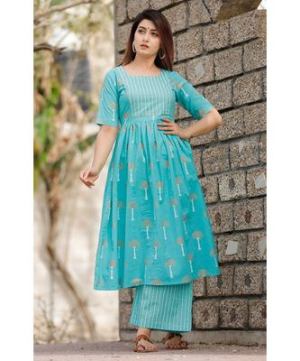Sky Blue Floral Printed with Palazzo Set .