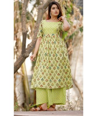 Lime Green Floral Printed With Palazzo Set