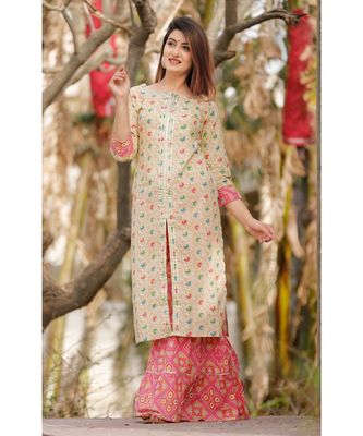 White Floral Printed Sharara Set And Delited With Gota Work .
