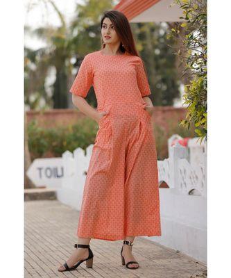 Peach Floral Printed Jumpsuit