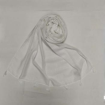 White  Designer Hand Work White Threaded Square Grid Hijab