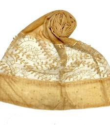 Yellow  Diamond And Pearl Studed Cotton Hijab