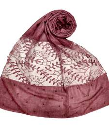 Purple  Diamond And Pearl Studed Cotton Hijab
