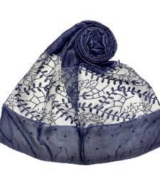 Blue  Diamond And Pearl Studed Cotton Hijab