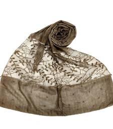 Brown  Diamond And Pearl Studed Cotton Hijab
