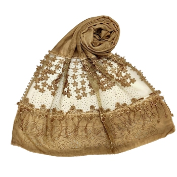 Brown  Premium Cotton Designer Diamond Studed Hijab With Fringe's And Flower