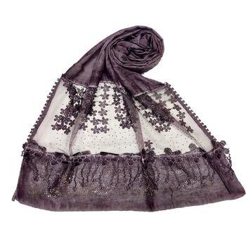 Purple  Premium Cotton Designer Diamond Studed Hijab With Fringe's And Flower