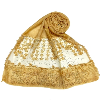 Yellow  Premium Cotton Designer Diamond Studed Hijab With Fringe's And Flower