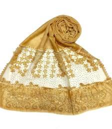 Yellow  Premium Cotton Designer Diamond Studed Hijab With Fringe's And Flower