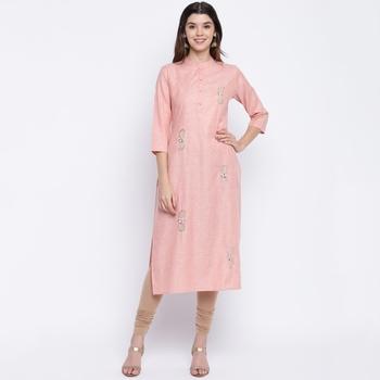 women's embroidered/solid straight cotton peach kurti