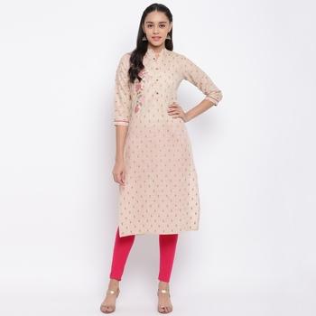 women's printed/embroidered straight cotton beige kurti