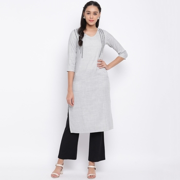 women's printed straight rayon grey kurti
