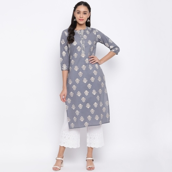 women's printed straight cotton grey kurti