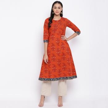 women's printed a-line cotton orange kurti