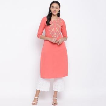 women's embroidered straight cotton peach kurti