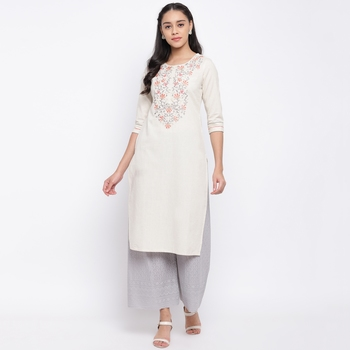women's embroidered straight cotton off white kurti