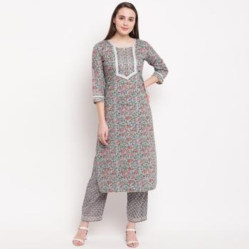 women's printed straight cotton grey kurti with pant set