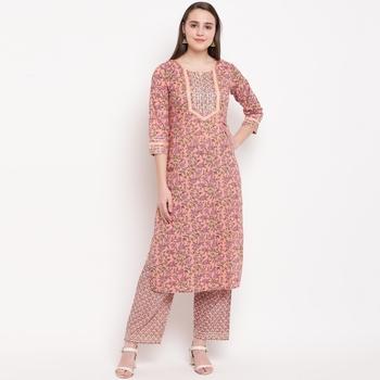 women's printed straight cotton peach kurti with pant set