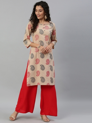 Blissta Cotton Printed Straight Kurta(Beige)