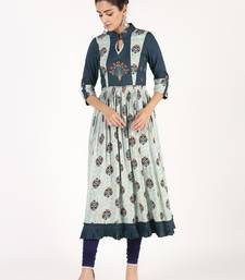 Navy-blue embroidered rayon embroidered-kurtis