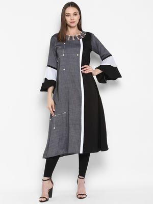 Dark-grey plain rayon kurtas-and-kurtis