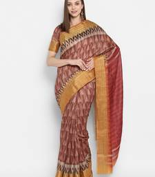 Brown printed uppada silk saree with blouse