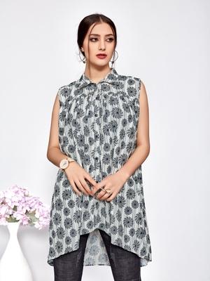Grey printed polyester short-kurtis