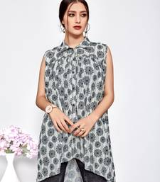Grey printed polyester short-kurtis