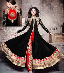 Buy Black Embroidery Work Georgette semi stitched salwar with dupatta collar-neck-design online