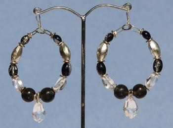 Black and Crystal Hoops.
