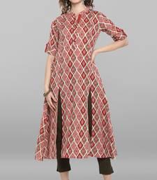 Pink printed cotton kurtas-and-kurtis