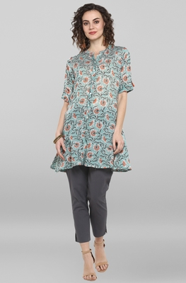 Sea-green printed cotton kurtas-and-kurtis