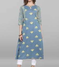 Sky-blue printed cotton kurtas-and-kurtis