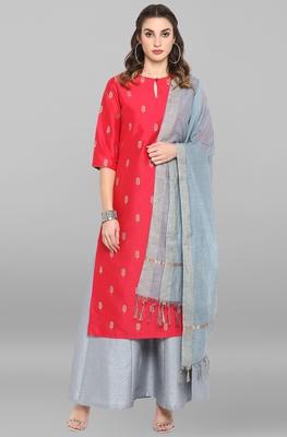 Red printed silk salwar