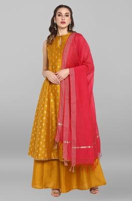 Mustard printed silk salwar