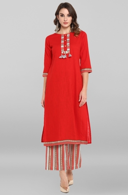 Red printed rayon salwar