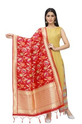 Red Banarasi Silk Jacquard Woven Dupatta