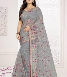 Grey embroidered net saree
