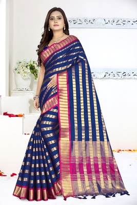 Blue printed art silk saree