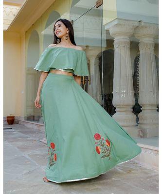 Green Flare  Skirt Top Set  (Set of 2)