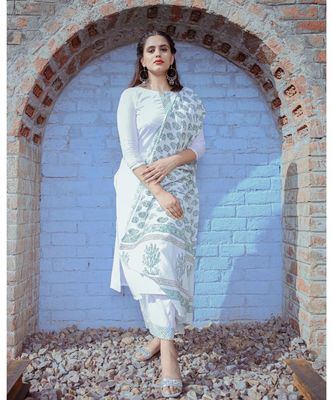 White Double Neck Kurta & Palazzo With Dupatta (Set of 3)