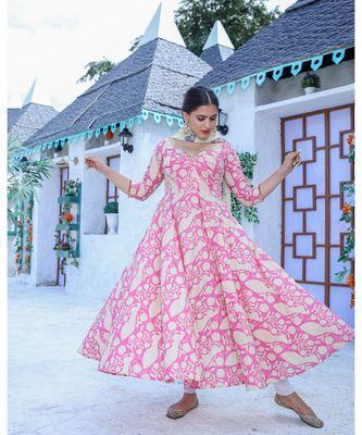 Pink Anarkali Kurta With Dupatta (Set of 2)