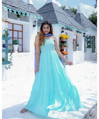 Sky Blue Tier Maxi Dress With Dupatta (Set of 2)