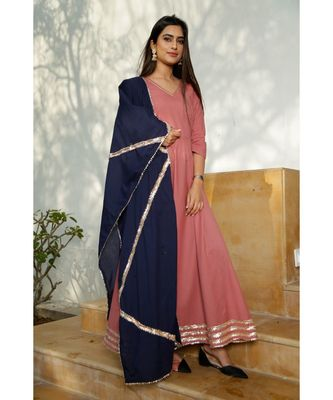 Blush Pink Floor Length Dress With Dupatta (Set of 2)